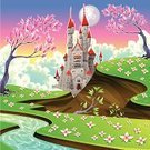 Castle,Medieval,Hill,Springtime,Flower,Nature,Landscape,River,Ancient,Cloud - Sky,The Past,Daisy,Picture Book,Scenics,History,Tower,Humor,Comic Book,Season,Summer,Meadow,Moon,Sky,Rural Scene,Vector,Fairy Tale,Grass,Cartoon,Ilustration,Building Exterior,Color Image