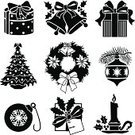 Christmas Tree,Candle,Bell,Christmas,Icon Set,Wreath,Black And White,Holiday,Christmas Decoration,Christmas Present,Candlestick Holder