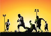 Soccer,Sport,Soccer Ball,Soccer Player,Silhouette,Vector,Soccer Field,Running,Playing,Grass,Teenager,Floodlight,Men,Exercising,Ilustration,People,Action,Ball,Team,Kicking,Sports Team,Sports Training,Back Lit,Teamwork,Tackling,Drawing - Art Product,Group Of People,Practicing,Turf,Teenagers Only,Outdoors,Sunset,Competitive Sport,Teenage Boys,Clip Art,Dusk,Dribbling,Passing,Passing,urbanity,Pencil Drawing,Tracing,Pen And Ink,Young Men,Medium Group Of People,Illustrations And Vector Art,Sports And Fitness
