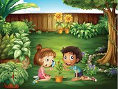 Grass,Sunflower,Ladybug,Computer Graphic,Men,Little Boys,Magnifying Glass,Beetle,Women,Large,Blue,Tree,Vine,Plant,Insect,Leaf,People,Wood - Material,Small,Image,Front or Back Yard