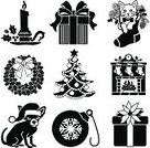 Poinsettia,Holiday,Fireplace,Dog,Christmas,Wreath,Christmas Tree,Domestic Cat,Winter,Icon Set,Black And White,Christmas Decoration,Christmas Ornament,Chihuahua,Christmas Stocking