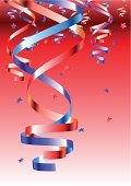 Party - Social Event,Confetti,Celebration,Backgrounds,Ribbon,Anniversary,New Year's Day,Vector,Fun,Cheerful,Red,Blue,String,Ilustration,Happiness,Holiday,Multi Colored,Decoration,Close-up,Throwing