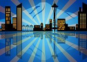 Downtown District,Residential District,Outdoors,Urban Skyline,Horizontal,Night,Mountain,Abstract,Blue,Postcard,City,Photography,Sunbeam,Puget Sound,Dusk,Reflection,Famous Place,Sunset,Mt Rainier,Illustration,Cityscape,Clip Art,Seattle,Skyscraper,Glowing,No People,Washington State,Pierce County