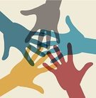 Human Hand,Teamwork,Vector,Silhouette,Multi Colored,Group Of People