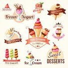 Ice Cream,Waffle,Frozen,Label,Chocolate,Symbol,Cold - Termperature,Cream,Strawberry,Cherry,Multi Colored,Yogurt,Sweet Sauce,Sign,Dessert,Ice,Fruit,Collection,Set,Whipped Cream,Vector,Merchandise,Ilustration,Sorbet,Design,Dessert Topping,Food,Ice Cream Cone,Couverture Chocolate,Decoration,Sweet Food