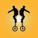 Circus,Unicycle,Silhouette,Acrobat,Unicycling,Vector,Cycling,Stability,Acrobatic Activity,Performance,Skill,Balance,Riding,People,Computer Graphic,Exercising,Male,Men,Design Element,Digitally Generated Image,Entertainment,Excitement,Challenge,Young Adult,Adult,Playful,Full Length,Concentration,Physical Activity