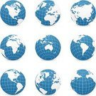 Globe - Man Made Object,Earth,World Map,Sphere,Planet - Space,Map,Vector,Europe,Australia,Asia,Latitude,In A Row,Longitude,Cartography,Blue,Africa,India,Circle,The Americas,No People,Oceania,Illustrations And Vector Art,Medium Group of Objects