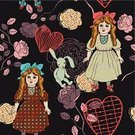 Doll,Rug,Cotton,Black Color,Textile,Creativity,Material,Red,Flower,Ribbon,Wallpaper Pattern,Carpet - Decor,Toy,Backgrounds,Decoration,Modern,Ornate,Old-fashioned,Beautiful,Pattern,Rabbit - Animal,Seamless,Design Element,Retro Revival,Vector,Print,Abstract,Ilustration,Floral Pattern,Baby Rabbit,Heart Shape