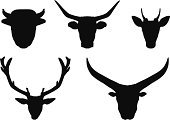Silhouette,American Bison,Deer,Set,Animals In The Wild,Trophy,Black Color,Ilustration,Zoo,Hunting,Horned