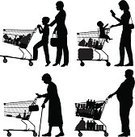 Silhouette,Shopping,Supermarket,Retail,Customer,Shopping Cart,Senior Adult,Outline,Cable Car,Women,Child,Vector,Pushing,Family,Men,Food,Set,Ilustration,Baby,Design Element,Store,Black Color,Collection