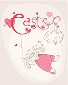 Rabbit - Animal,Design,Easter,happy easter,Text,Greeting Card,Holiday,Ilustration,Typescript,Color Image,Vector