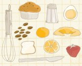 Wire Whisk,Muffin,Bread,Salt Shaker,Croissant,Salt,Breakfast,Eggs,Strawberry,Drawing - Art Product,Ilustration,Orange - Fruit,Table Knife,No People,Morning,Orange Color,Healthy Lifestyle,Illustrations And Vector Art,Concepts And Ideas,Time,White Background,Transparent,Animal Egg,Food And Drink