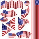 Vector,American Flag,Red,Ilustration,Flag,Set,The Americas,Collection,Blue,USA