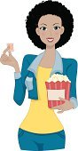 Movie,Teenager,Adult,Popcorn,Color Image,Illustration,Women,Teenage Girls,Vector,Movie Ticket,Arts Culture and Entertainment