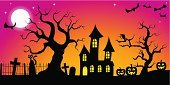 Halloween,Banner,Landscape,Spooky,Jack O' Lantern,Horror,Moon,Pumpkin,Grave,Cemetery,Greeting Card,Dark,Lantern,Cross,Season,House,Cartoon,Full Moon,Space,Bat - Animal,Night,Branch,Evil,Tree,Black Color,Silhouette,Autumn,October,Sky,Backgrounds,Moonlight,Celebration,Ilustration,Copy Space,Holiday,Vector,Design