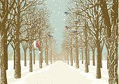 Christmas,Retro Revival,Greeting Card,Winter,Tree,Snow,Avenue,Forest,Silhouette,Footpath,Landscape,Backgrounds,Single Lane Road,Outdoors,Track,Ilustration,Woodland,Holiday,Vector,Branch,Flock Of Birds,No People,Vanishing Point,Urban Scene,Bullfinch,Bird,Nature,Tree Trunk,Season,Paintings,Paint,Tranquil Scene,Forecasting,Scenics,Park - Man Made Space,Art