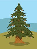 Tree Trunk,Branch,Pine Cone,Evergreen Tree,Tree,Nature,Green Color,Ilustration,Shade,Cartoon,Pine Tree,Needle,Vector