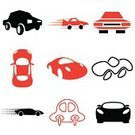 Car Show,Silhouette,Multi Colored,Shape,Red,Speed,Motion,Transportation,Car Icon,Vehicle Hood,Design,Competition,Black Color,Computer Icon,Driver,Symbol,Car,Set,Vehicle Door,Railroad Car,Bumper,Straight,Machine Part,Insignia,Tire