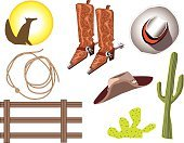 Lasso,Wild West,Cowboy Boot,Cowboy Hat,Fence,Cactus,Coyote,Spur,Southwest USA,Rope,Vector,Ilustration,Boot,Part Of,Drawing - Art Product,Plants,Cowboy Elements,Fashion,Western Elements,Nature,Color Image,western wear,Beauty And Health,Objects/Equipment