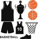 Basketball,Basketball - Sport,Sports Uniform,Basketball Hoop,Vector,Orange Color,Symbol,Old-fashioned,Competitive Sport,Shirt,Leisure Activity,Cycling Shorts,Fashion,Clothing,Isolated,Design Element,Shoe,Sports Equipment,Sports Shoe,Sign,Black Color,Ball,Basket,T-Shirt,Cup,Trophy,Team Sport,Set,Healthy Lifestyle,Success,Sport,Award