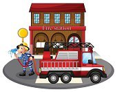 Fire Engine,Firefighter,Fire Hose,Fire - Natural Phenomenon,Little Boys,Men,Pedestrian,Service,Male,Water,Lane,Engine,Station,Domestic Staff,Truck,Backgrounds,Street,Land Vehicle,Clip Art,Isolated,People,Image,Photograph,Office Building,One Person,White,Computer Graphic