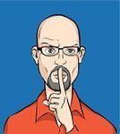 Shaved Head,Finger on Lips,Silence,Men,People,Shy,Whispering,One Person,Clip Art,Goatee,Mystery,Emotion,Beard,Human Head,Caucasian Ethnicity,Ilustration,Cartoon,Adult,Gesturing,Secrecy,Humor,Characters,Vector,Portrait,Isolated,Shirt,Serious,Human Finger,Human Face,Human Eye,Eyeglasses