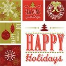 Holiday,Happiness,Christmas,Retro Revival,Greeting,Old-fashioned,happy holidays,Text,Vector,Pattern,Wreath,Set,Tree,Snowflake,Green Color,Variation,Ilustration,Red