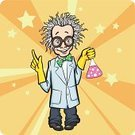 Mad Scientist,Scientist,Caucasian Ethnicity,Backgrounds,Standing,Humor,Science,People,Emotion,Full Length,Gesturing,Bizarre,Scientific Experiment,Stereotypical,Cheerful,Sunbeam,Clip Art,Characters,Vector,Caricature,Ilustration,Men,Smiling