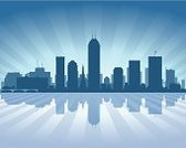 Indianapolis,Urban Skyline,Indiana,Backgrounds,Silhouette,City,Architecture,Famous Place,USA,Day,Built Structure,Journey,Tall,Waterfront,Cityscape,Dark,Blue,Modern,Downtown District,Business,Front View,Reflection,Sky,Beautiful,Travel,Skyscraper,Coastline,Ilustration,Vector,Office Building