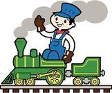 Steam Train,Locomotive,Train,Engineer,Green Color,Cheerful,Happiness,Engine,Cartoon,Little Boys,Driving,Fun