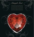 Heart Shape,Bright,Shiny,Gemstone,Color Image,Ruby,Copy Space,Ilustration,Ornate,Vector