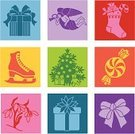 Christmas,Ice Skate,Candy,Christmas Stocking,Bow,Icon Set,Christmas Tree,Snowdrop,Christmas Decoration,Christmas Present,Pop Art,Angel