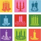 Advent,Candle,Christmas,Candlestick Holder,Icon Set,Christmas Decoration,Pop Art