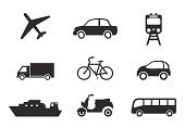 Bus,Train,Symbol,Computer Icon,Airplane,Car,Transportation,Bicycle,Truck,Shipping,Passenger Ship,Taxi,On The Move,Cruise Ship,Interface Icons,Push Scooter,Motorcycle,Vector,Freight Transportation