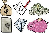 Wealth,Agreement,Savings,Finance,Stock Certificate,Piggy Bank,Symbol,Computer Graphic,Business,Sign,Currency,Pen,Diamond,Vaulted Door,Document,Set,Design,Safe,Coin,Paper Currency,Coin Bank,Gemstone,Dollar Sign,Contract,Clip Art,Cartoon,Vector,Single Object,Drawing - Art Product,Sack,Collection,Ilustration,Dollar