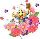 Smiling,Computer Graphic,Multi Colored,Honey,Clipping Path,Honey Bee,White Background,Purple,Pink Color,Insect,Animal,Food,Bee,Honeycomb,Leaf,Plant,White Backgrond
