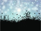Silhouette,Landscape,Springtime,Insect,Eps10,Butterfly - Insect,Grass,Ilustration,Backgrounds,Nature