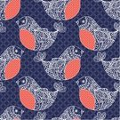 Seamless,Animal,Pattern,Ornate,Ilustration,Cartoon,Celebration,Doodle,Vector,Decoration,Christmas,Bird,Square,Lace - Textile,Holiday,Backgrounds,Saturated Color,Design,hand drawn,Wallpaper Pattern,Blue,Red,Simplicity,Dark,Multi Colored,White,Bullfinch