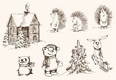 Retro Revival,Old-fashioned,Christmas,Hedgehog,Teddy Bear,Doodle,Owl,House,Sketch,Collection,Ecstatic,Winter,Cottage,Design,Vector,New Year,Design Element,New Year's Eve,Ilustration,Single Object,Magic Trick,Holiday,Backgrounds,Hare,Image,Gift,Atmosphere,Outline,Glamour,Joy,Set,Craft,Christmas Tree,Computer Graphic,Isolated