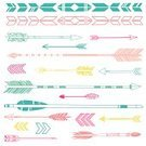 Pink Color,Green Color,Yellow,Arrow,Ilustration,Vector