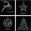 Black And White,Christmas,Set,Vector,Ilustration