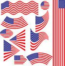 American Flag,The Americas,Flag,Set,USA,Blue,Ilustration,Collection,Red