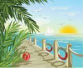 Relaxation,Seagull,Palm Tree,Nature,Sunrise - Dawn,Summer,Pier,Wave,Wind,Copse,Direction,Turquoise,Vector,Sea,Footpath,Urban Skyline,Ilustration,Seascape,Tranquil Scene,Freshness,Life Belt,South