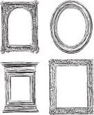 Picture Frame,Baroque Style,Frame,Construction Frame,Old-fashioned,Drawing - Art Product,Vintage Frame,Decoration,Isolated On White,Collection,Sketch,Doodle,Computer Graphic,Pattern