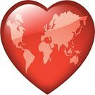 Heart Shape,Globe - Man Made Object,Earth,World Map,Love,Consoling,Mediation,Red,Symbols Of Peace,Glass - Material,Harmony,War,Tranquil Scene,Serene People,Unity,Frosted Glass,Community,Frost,Togetherness,Conflict,Agreement,Shiny,Concepts And Ideas,Illustrations And Vector Art,Communication