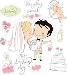 Couple,Bride,Wedding,Husband,Wife,Bridegroom,Cake,Romance,Simplicity,Looking At Camera,Fantasy,Cheerful,Glamour,Wedding Ceremony,Cupid,Flirting,Doodle,Summer,Kissing,Fireplace,Beauty,Pink Color,Single Flower,Beautiful,Vector,Remote,Ilustration,Celebration,Equality,Happiness,Married,Dress,Loving,Elegance,Love,Dating