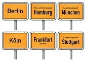 Sign,Hamburg - Germany,Frankfurt - Main,Cologne,Berlin,Metal,Travel Destinations,Yellow,Authority,Road Sign,Isolated On White,City Limits,Large,Europe,Munich,Single Object,Germany,City,Isolated,City Boundary,Major,Capital Cities,Stuttgart,Ilustration,Vector,Information Sign