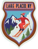 Skiing,Luggage Tag,Travel,Lake Placid,US State Border,New York State,Label,Lake Placid Town,Winter Sport