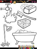Domestic Bathroom,Coloring Book,Black Color,Black And White,Ilustration,White,Drawing - Art Product,Water,Home Interior,Faucet,Education,Bathtub,Design,Cartoon,Coloring,Soap Sud,Clip Art,Preschool,Cleaning,Pouring,Vector,Set,Scrub Brush,House,Sponge,Tap,Shower,Bar Of Soap,Collection,Bath Sponge,Toilet Brush,Foam,Domestic Life