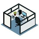 Cubicle,Office Interior,Symbol,Computer Icon,Isometric,High Angle View,Three-dimensional Shape,Business,Ilustration,Place of Work,Office Chair,Computer,Vector